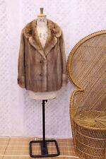 Vintage Real brown Mink fur 50s 60s war time big collar coat winter jacket S