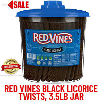 Red Vines Black Licorice Twists, Candy Twists, Soft & Chewy, Candy, 3.5lb Jar