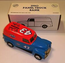 R PETTY 43 SIGNED VTG ERTL CAST 1950 CHEVY PANEL TRUCK BANK NASCAR W/ COA & CARD