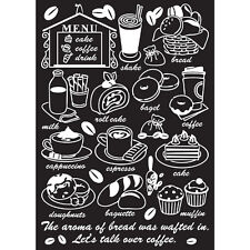 Instant Art Home Decor Wall Sticker Decal Sheet - Cafe Menu Cake Coffee Drink