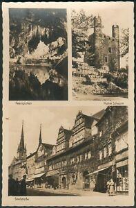 Postkarte Saalfeld -mit 3 Ansichten, s/w, orig. gelaufen 1958 nach Güstrow
