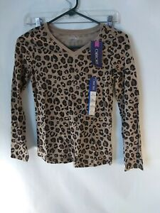 Cherokee Girls Top Size L (10-12) Multi Color Leopard Print