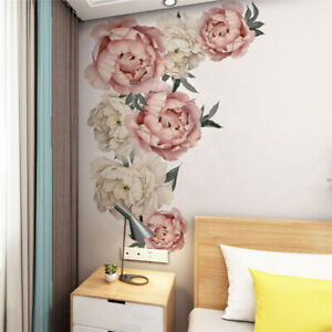 PVC Pink Peony Flower Wall Stickers Kids Baby Nursery Decor Mural Decal Top
