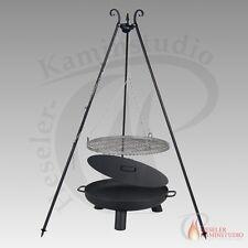 feu-pan PAN 37 + couvercle en acier brut Ø 80cm, trépied, barbecue OSCILLANT -