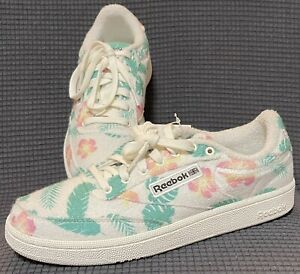 Reebok Club C 85 Beach Floral Print Sneakers Shoes For Women Size 8.5 FW1266