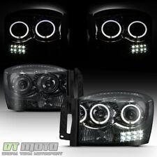 Smoke 2006-2008 Dodge Ram 1500 2500 3500 LED Halo Projector Headlights Headlamps