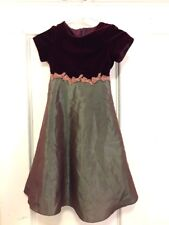 f5201c3a584 Maggie Breen Girls Dress Holiday - Size 6 - Maroon Red- Short Sleeve Long  Velvet