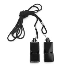 Soccer Sports Referee Whistle Lanyard Emergency Survival Black Neck String 2pcs