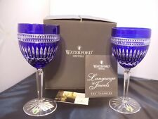 """NIB Set of 2 WATERFORD- SERENITY CLARENDON SAPPHIRE pattern WATER GOBLETS 8-3/4"""""""