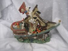 lighted haunted ghost pirate ship Halloween Village Porcelain  no switch in cord