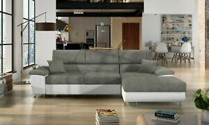 Sofa -Antonio L Corner Sofabed + Storage - Leather/Fabric - Black / White / Grey
