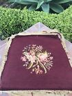 1930s Vintage  Needlepoint Seat Cover  Pillow Stool  Rose Background.   Total 3