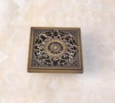 "Antique Brass 4"" Square Floor Drain Bathroom Shower Waste Water Drainer Phr037"