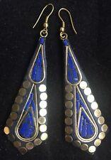 Bohocoho ECCENTRICO Boho Gypsy 70 S stile Deep Blue Mosaico Dangle Orecchini Pendenti