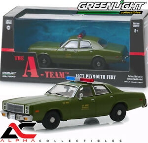 """GREENLIGHT 86556 1:43 1977 PLYMOUTH FURY US ARMY POLICE  """"THE A TEAM"""" TV"""