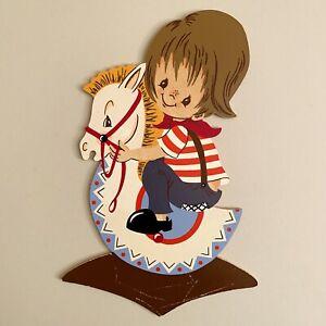 Holz Bild Kind VINTAGE 1960er Mertens-Kunst Schaukelpferd-Junge 22cm Streifen