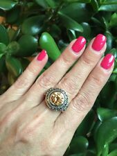 "NEW ""designer inspired"" Amber Topaz CZ Medallion Ring w.Intricate Detail Size 7"