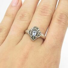 Vintage Sterling Silver Marcasite & Blue Topaz Gem Feminine Ring Size 6.75 3.3g