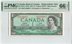 CANADA $1 Dollar 1954, BC-37bA-i Replacement, PMG 66 EPQ Gem UNC, Beattie Ras.