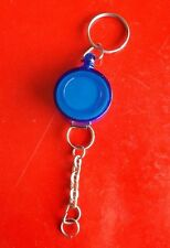 Blue Retractable Reel Clip Keychain