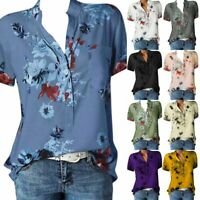 Women Boho Floral Tops Button Up Blouse Loose Short Sleeve Tee Shirt Plus Size