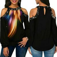 Women Printed Off-Shoulder Tops Casual Hollow Feather Long Sleeve Blouse Tops