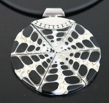 Vintage Hand Crafted Black White Web Abalone Shell Pendant 925 Sterling Silver