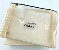 CHANEL COSMETIC/MAKEUP BAG POUCH CLUTCH CLEAR LES BEIGES VIP GIFT