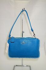 NWT COACH 64765B BP NOLITA SMALL WRISTLET WITH SHEARLING TRIM PEACOCK Teal/blue