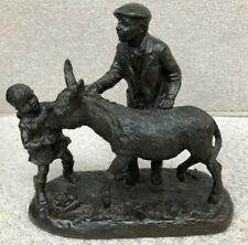 Vintage Heredites Cold Cast Bronze Man with Donkey & Child Ornament Figure #470