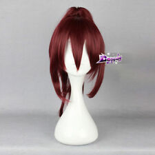 "16"" Wine Red Wig Hair for Free Gou Matsuoka Anime Synthetic Cosplay Wig+Ponytail"