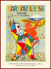 1956 Carnaval Bolivia South America Vintage Travel Art Poster Advertisement