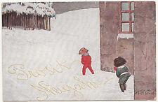 Scherz Ak Kinder pinkeln in den Schnee Humor Prosit Neujahr signiert HSB (A2099