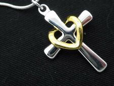 Cross Gold Floating Heart Pendant Women's Necklace 925 Silver Plated New