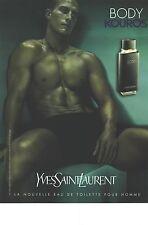 PUBLICITE 1997  YVES SAINT LAURENT BODY KOUROS pour HOMME parfum