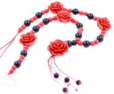 Handmade red lacquer rose beaded necklace
