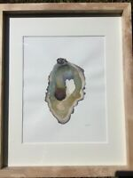 Watercolor oyster painting 16x20 inches coldpress paper With Homemade Ash Frame