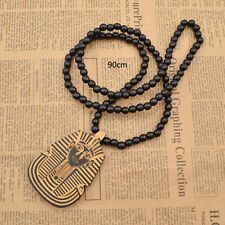 Pharaoh Necklace King Tut Wood Rosary Beads Chain Lucky Black