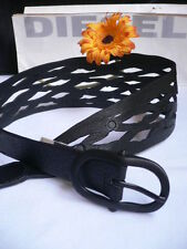 Diesel Women Black Leather Trendy Mesh Cut Out Wide Summer Belt Size S / M