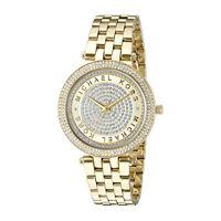 New Michael Kors MK3445 Darci Diamond Pave Gold Dial Analog Women's Watch 33mm