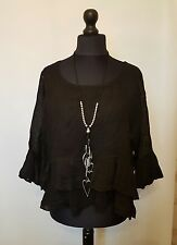 "NEW ITALIAN QUIRKY ""BOHO"" LAYERED LaGeNLooK Linen double FRILL HEM TOP 12-18 £19"