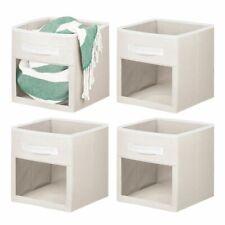 mDesign Soft Fabric Closet Storage Organizer Cube With Window - 4 Pack - Cream