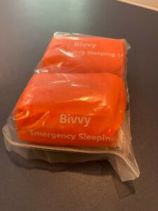 2 Bivvy Emergency Sleeping Bags portable cord attached never used