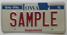 Iowa 1992 SESQUICENTENNIAL SAMPLE License Plate NICE QUALITY # SAMPLE
