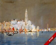 VIEW OF VENICE ITALY AT NIGHT WATERCOLOR PAINTING ART REAL CANVAS PRINT