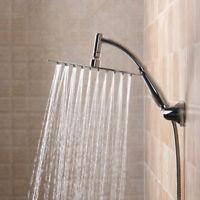 25x25cm Large Stainless Steel Square Rain Shower Head Thin Chrome Top Bathroom