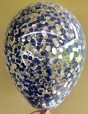 3x Navy Dark Blue & Metallic Silver Clear Confetti Balloons 1st Birthday Wedding