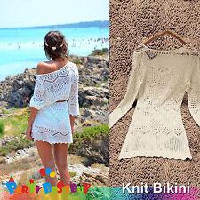 Lace Crochet Knit Bikini Cover Up Summer Sexy Beach Dress White Top Blouse White