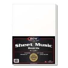 "1 case (500) BCW Sheet Music Backer Boards 9 1/4"" x 12 1/8"""