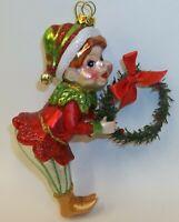 "Retro 1950s Style Christmas Elf with Wreath 5"" Christmas Ornament"